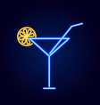cocktail glass with straw neon vector image vector image