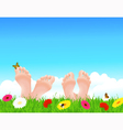 Couple lying on summer field vector image vector image