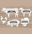 cow pig chicken turkey on wood background vector image vector image