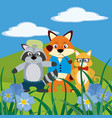 cute animals on nature cartoons vector image