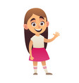 cute little girl in pink skirt smiling vector image