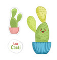 cute smiling green potted cactus plant isolated vector image vector image