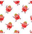 cute tomato character seamless pattern funny vector image vector image
