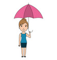 cute woman with umbrella vector image