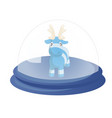decorative globe with cute blue cartoon reindeer vector image