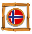 flag of norway in wooden frame vector image vector image