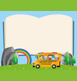 frame template with kids on school bus vector image vector image