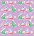 fresh cherries and pears fruits kawaii characters vector image vector image
