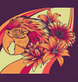 head parrot macaw with fkower vector image