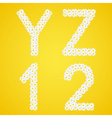Letters YZ and 12 figures composed from daisy vector image