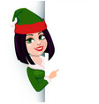 merry christmas and happy new year elf woman vector image vector image