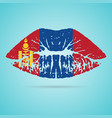 mongolia flag lipstick on the lips isolated on a vector image vector image