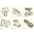 Mountain climbing accessories and equipment on yel vector image vector image