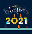 new year 2021 card happy people friends together vector image