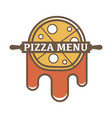 pizza menu promotional logotype with rolling pin vector image vector image