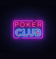 poker club sign design template poker club vector image vector image