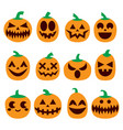 pumpkin icons set halloween scary faces de vector image vector image