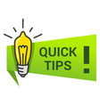 quick tips icon with lightbulb exclamation mark vector image vector image