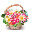 realistic floral summer bouquet in a basket vector image vector image