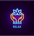 relax neon label vector image