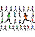 runners in color sportswear silhouettes collection vector image