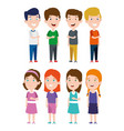 set boys and girls with hairstyle and clothes vector image
