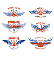 set of vintage airplane show emblems design vector image