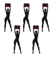 Silhouette boxing ring girls holding sign vector image vector image