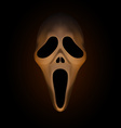 Spooky halloween mask on dark brown background vector image vector image