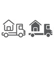 truck delivers the house line and glyph icon vector image