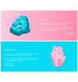 turquoise and pink quartz minerals online posters vector image vector image