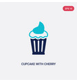 two color cupcake with cherry icon from bistro vector image
