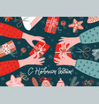 two pairs hands and gift box on table wrapping vector image vector image