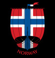 warship of the vikings - drakkar and norway flag vector image vector image