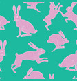 white and pink bunnies on green seamless pattern vector image