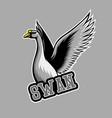 white swan mascot logo swan e sports logo vector image vector image