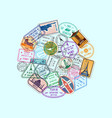 world immigration and post stamp marks vector image vector image