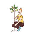 young happy female volunteer or ecologist planting vector image vector image