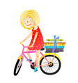 little girl books and bicycle kids cartoon vector image