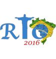 Rio 2016 and Brazil map on a brick wall vector image