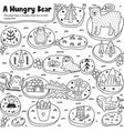 a hungry bear black and white labyrinth game vector image vector image