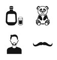 alcohol panda and other web icon in black style vector image vector image