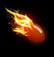american football ball with fire vector image vector image