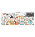 back to school horizontal banner with adorable vector image vector image