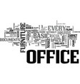 basic office furniture text word cloud concept vector image vector image