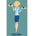 Beautiful Girl Waitress vector image