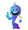blue cartoon caracter with a thumb up and a vector image vector image