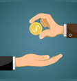 businessman gives to man a gold dollar coin vector image vector image