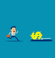 businessman running into mousetrap concept vector image