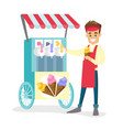 caucasian white street seller selling ice cream vector image